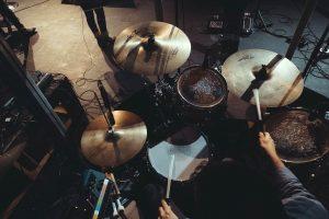 A full drum set in a studio