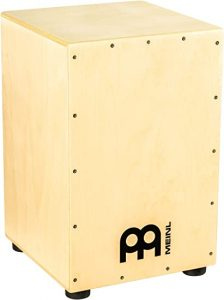 a wooden cajon in standing position